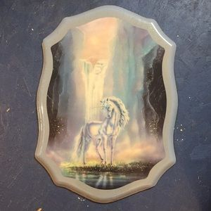 Other - *vinatge* UNICORN art with glitter frame